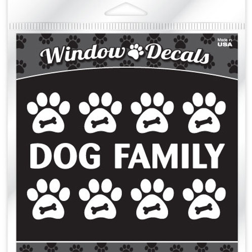 Dog Family •White vinyl sticker decals