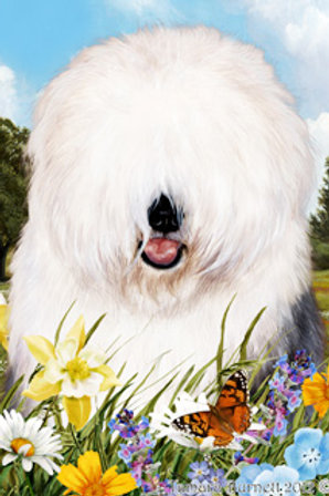 Old English Sheepdog - Summer Flowers Garden Flags
