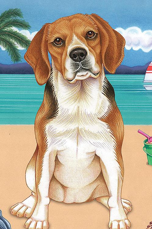 Beagle -Terry Velour Microfiber Beach Towel