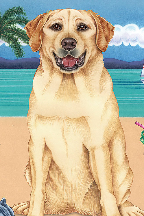 Yellow Labrador -Terry Velour Microfiber Beach Towel