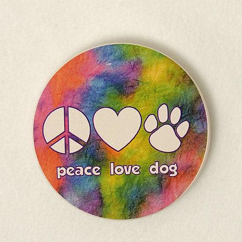 Peace, Love, Dog Car Coaster