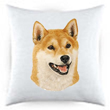 Shiba Inu Dog Portrait Satin Throw Pillow