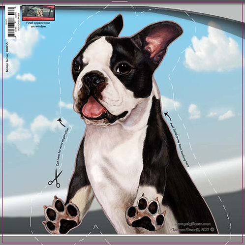 Boston Terrier - Dogs On The Move Window Decal