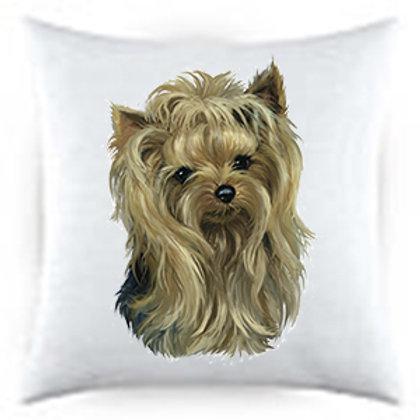 Yorkie Dog Portrait Satin Throw Pillow