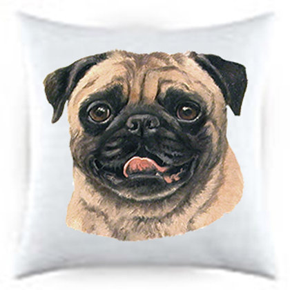 Fawn Pug Dog Portrait Satin Throw Pillow