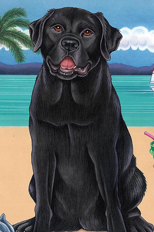 Black Labrador -Terry Velour Microfiber Beach Towel