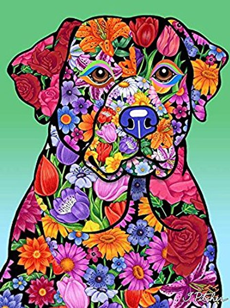 Black Labrador -Flowers Design Garden Flag