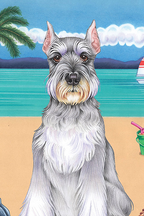 Schnauzer Cropped -Terry Velour Microfiber Beach Towel