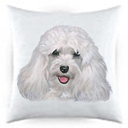 Cream Havanese Dog Portrait Satin Throw Pillow