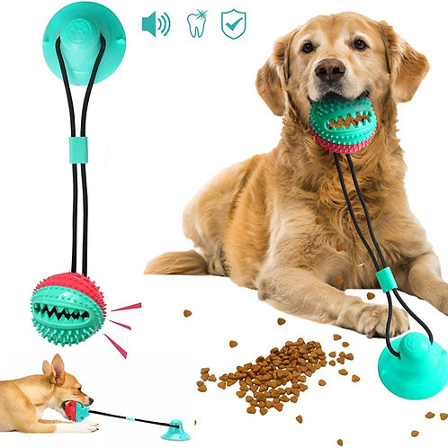 Suction Cup Tug Interactive Dog Ball Toy for Pet Chew Tooth Cleaning Toothbrush