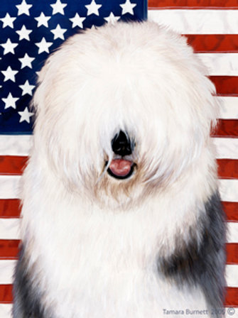 Old English Sheepdog - Tamara Burnett Patriotic II House Flag