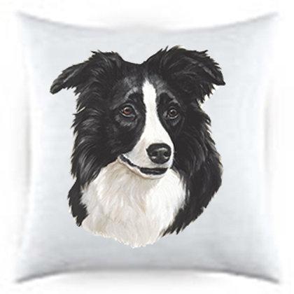 Border Collie Dog Portrait Satin Throw Pillow