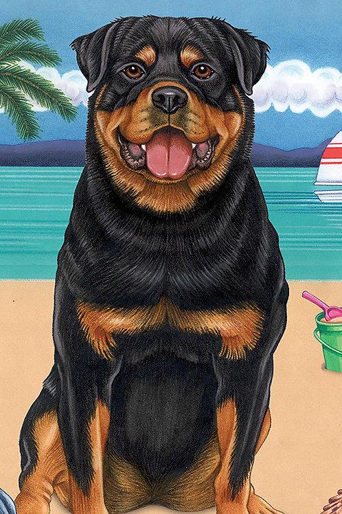 Rottweiler -Terry Velour Microfiber Beach Towel