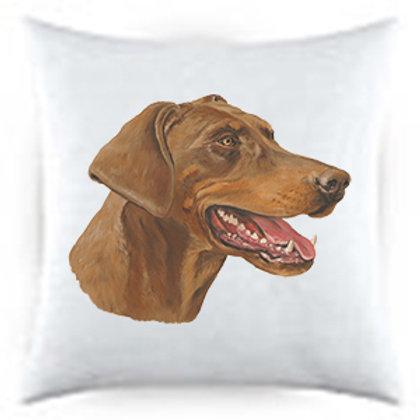 Red Doberman Dog Portrait Satin Throw Pillow (uncropped)