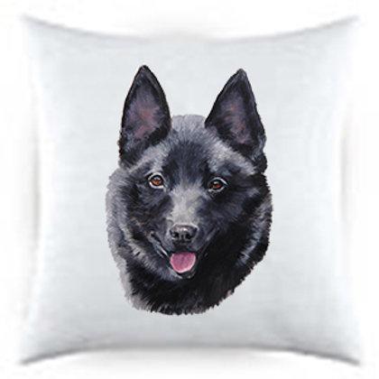 Schipperke Dog Portrait Satin Throw Pillow