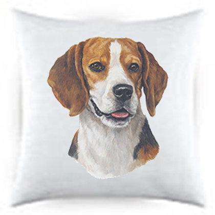 Beagle Dog Portrait Satin Throw Pillow
