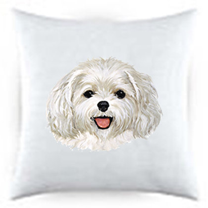 Maltese Puppy Dog Portrait Satin Throw Pillow