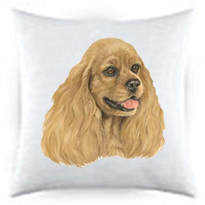 Cocker Spaniel Dog Portrait Satin Throw Pillow