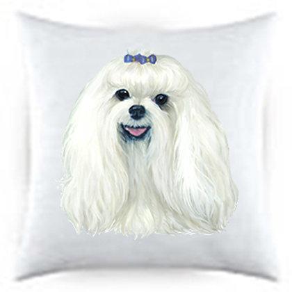 Maltese Dog Portrait Satin Throw Pillow