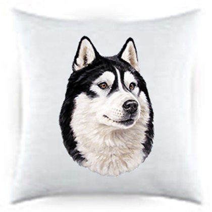 Alaskan Malamute Dog Portrait Satin Throw Pillow