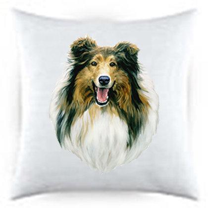 Collie Dog Portrait Satin Throw Pillow