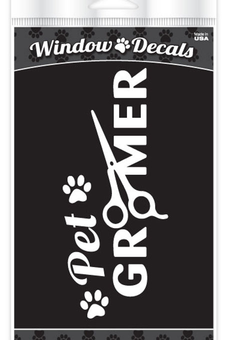 Pet Groomer White Window Cling