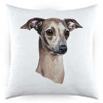 Italian Greyhound Dog Portrait Satin Throw Pillow