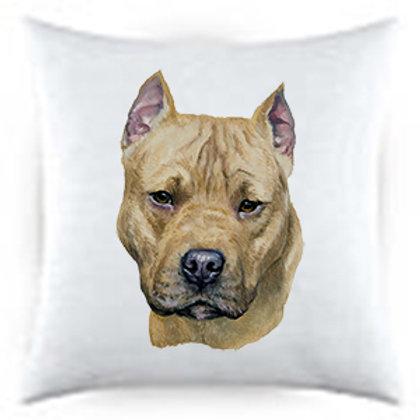 American Staff Dog Portrait Satin Throw Pillow