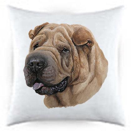 Sharpei Dog Portrait Satin Throw Pillow
