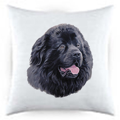 Newfoundland Dog Portrait Satin Throw Pillow