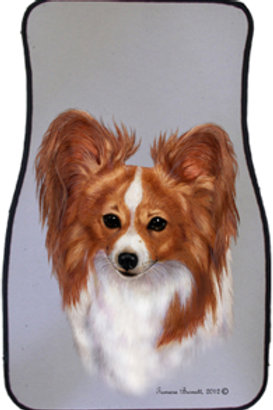 Red & white Papillon Best of Breed Car Mats (set of 2)