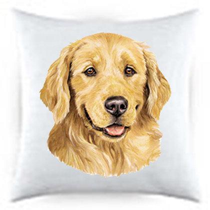 Golden Retriever Dog Portrait Satin Throw Pillow