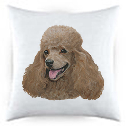 Apricot Poodle Dog Portrait Satin Throw Pillow