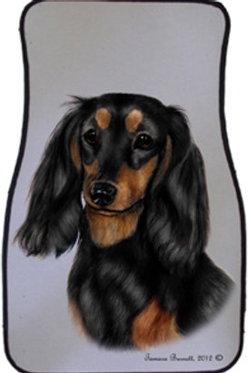 Long-haired Black & Tan Dachshund Best of Breed Car Mats (set of 2)
