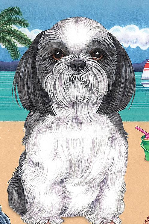 Shih Tzu Black/White -Terry Velour Microfiber Beach Towel