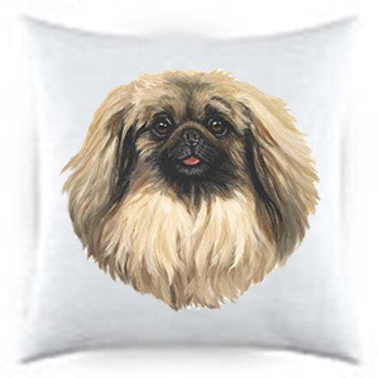 Pekinese Dog Portrait Satin Throw Pillow
