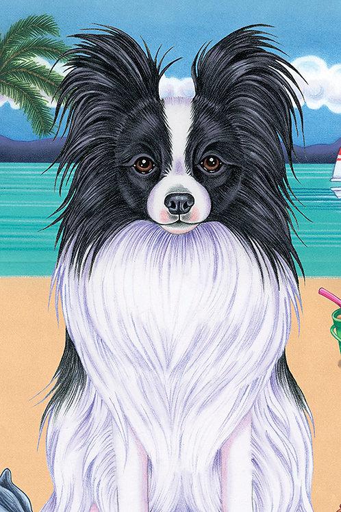 Papillon Black and White-Terry Velour Microfiber Beach Towel