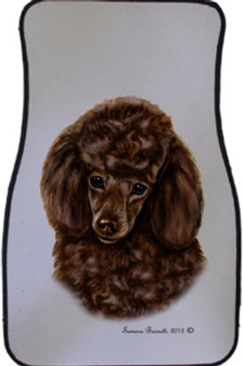 Chocolate Poodle Best of Breed Car Mats (set of 2)`