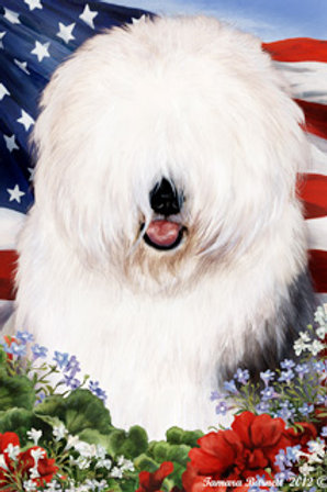 Old English Sheepdog - Patriotic II Large Flag