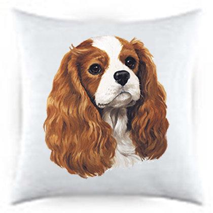 Cavalier King Charles Blenheim Dog Portrait Satin Throw Pillow