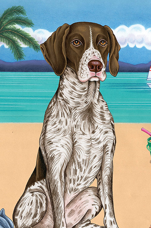 German Shorthair Pointer -Terry Velour Microfiber Beach Towel