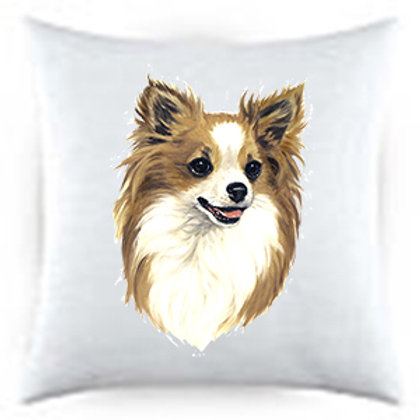 Chihuahua Long Haired Dog Portrait Satin Throw Pillow