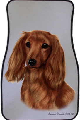 Long-haired Red Dachshund Best of Breed Car Mats (set of 2)