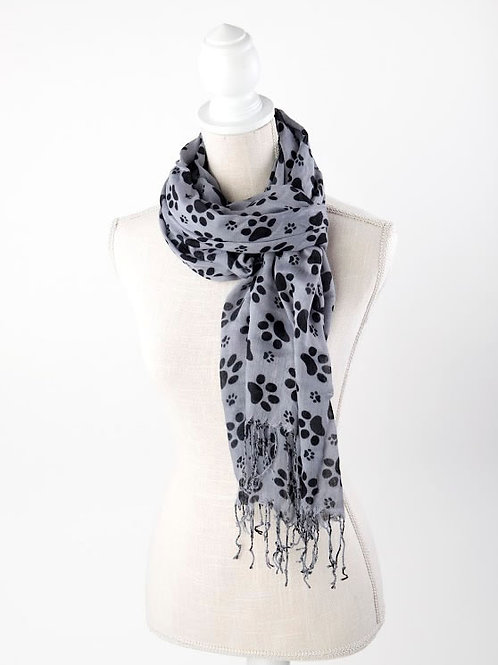 Gray with Black Paw Prints Rayon Scarf