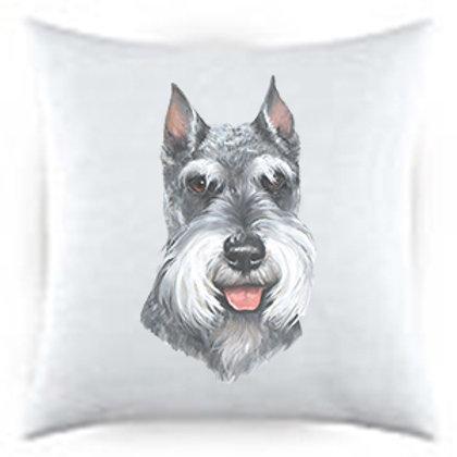 Schnauzer Dog Portrait Satin Throw Pillow