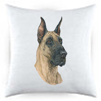 Great Dane Dog Portrait Satin Throw Pillow