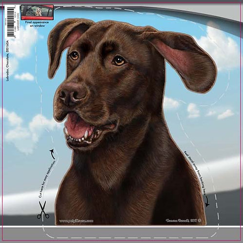 Chocolate Lab - Dogs On The Move Window Decal