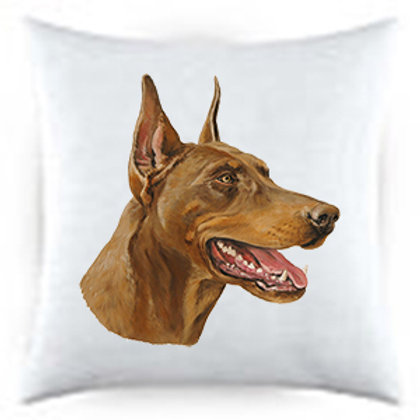 Red Doberman Dog Portrait Satin Throw Pillow