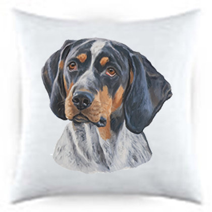 Blue Tick Dog Portrait Satin Throw Pillow