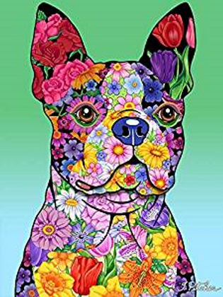 Boston Terrier - Flowers Design Garden Flag